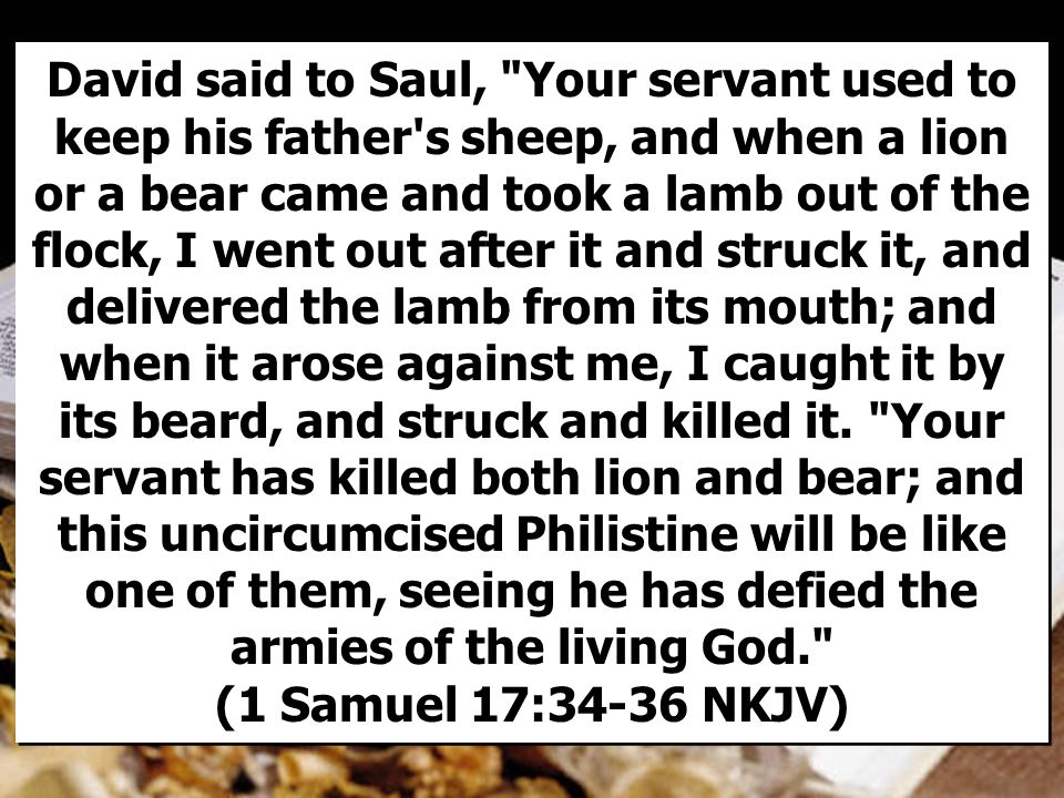 David said to Saul, Your servant used to keep his father s sheep, and when a lion or a bear came and took a lamb out of the flock, I went out after it and struck it, and delivered the lamb from its mouth; and when it arose against me, I caught it by its beard, and struck and killed it.