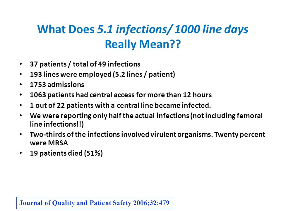 What Does 5.1 infections/ 1000 line days Really Mean?.