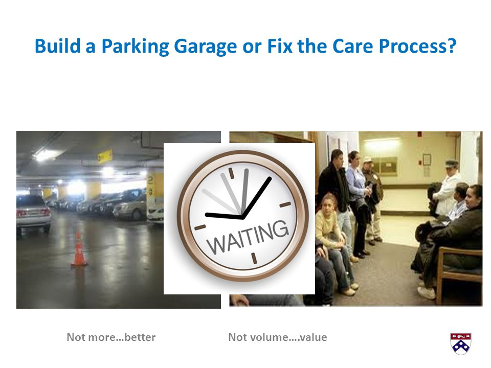 Build a Parking Garage or Fix the Care Process? Not more…better Not volume….value