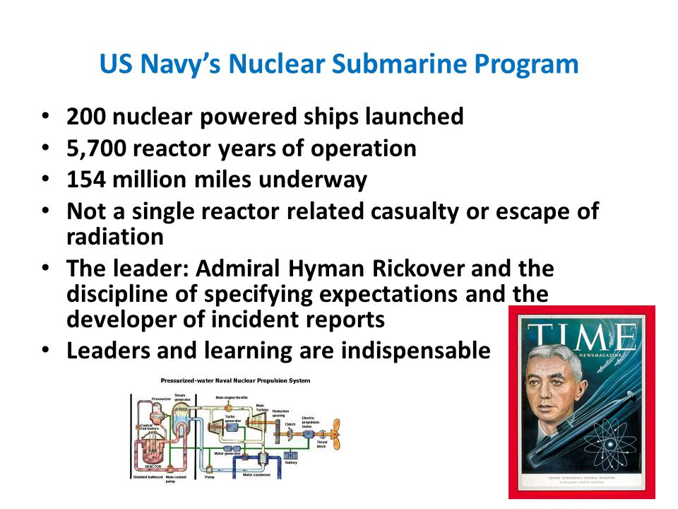 US Navy's Nuclear Submarine Program 200 nuclear powered ships launched 5,700 reactor years of operation 154 million miles underway Not a single reactor related casualty or escape of radiation The leader: Admiral Hyman Rickover and the discipline of specifying expectations and the developer of incident reports Leaders and learning are indispensable