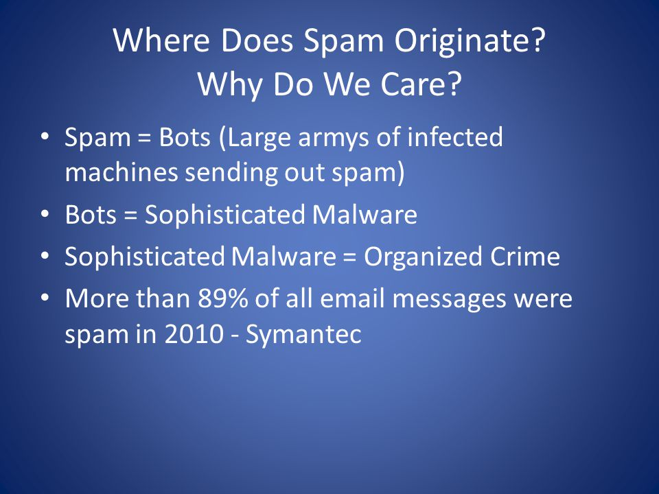Where Does Spam Originate. Why Do We Care.