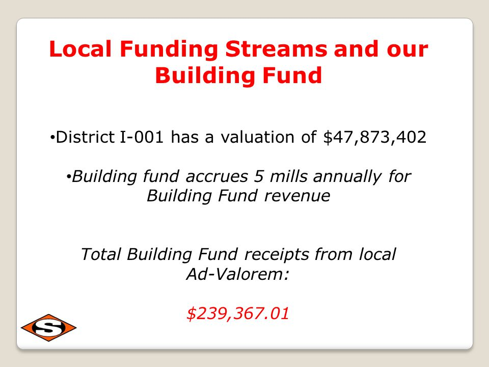 Local Funding Streams and our Building Fund District I-001 has a valuation of $47,873,402 Building fund accrues 5 mills annually for Building Fund revenue Total Building Fund receipts from local Ad-Valorem: $239,367.01