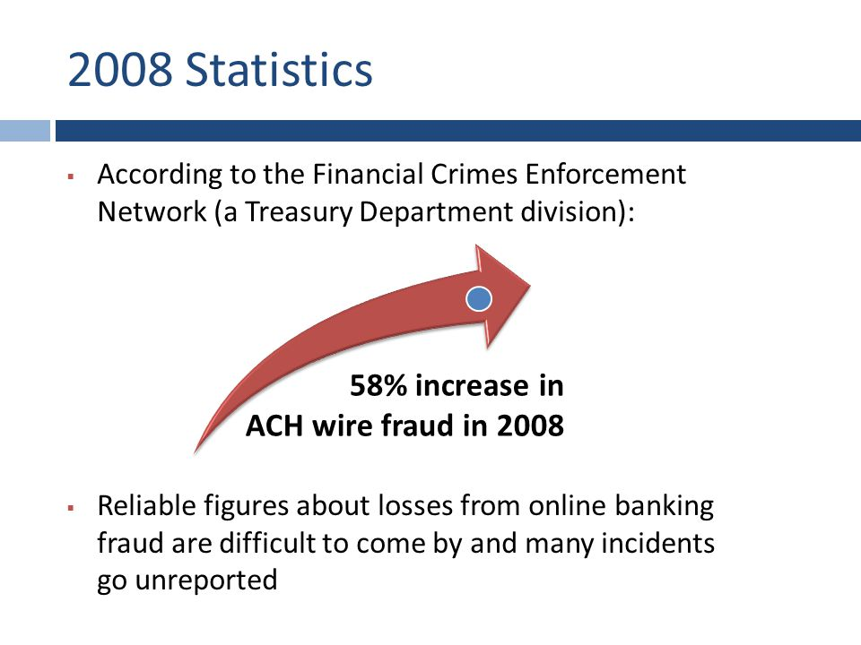 2008 Statistics  According to the Financial Crimes Enforcement Network (a Treasury Department division):  Reliable figures about losses from online banking fraud are difficult to come by and many incidents go unreported 58% increase in ACH wire fraud in 2008