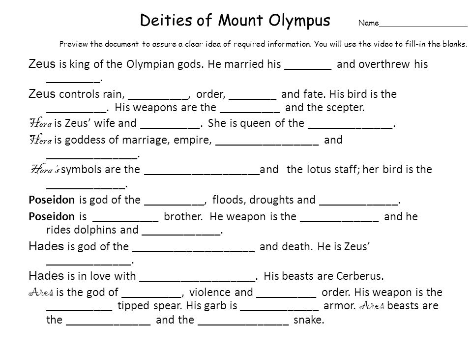 Deities of Mount Olympus Name__________________ Preview the document to assure a clear idea of required information.