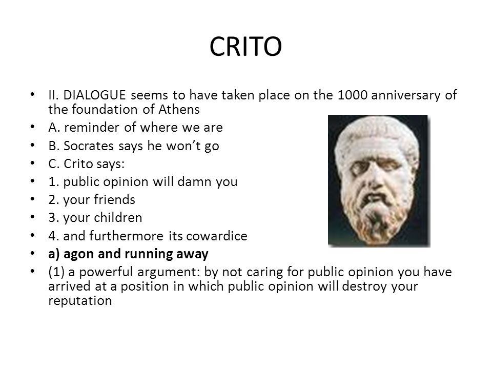 CRITO II. DIALOGUE seems to have taken place on the 1000 anniversary of the foundation of Athens A.
