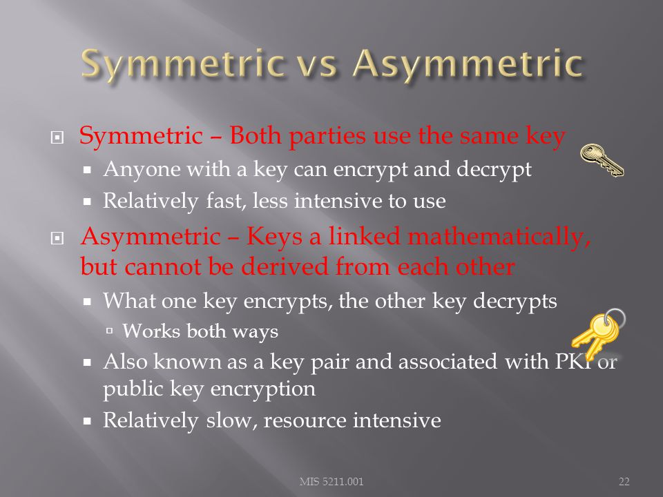  Symmetric – Both parties use the same key  Anyone with a key can encrypt and decrypt  Relatively fast, less intensive to use  Asymmetric – Keys a linked mathematically, but cannot be derived from each other  What one key encrypts, the other key decrypts  Works both ways  Also known as a key pair and associated with PKI or public key encryption  Relatively slow, resource intensive MIS 5211.00122