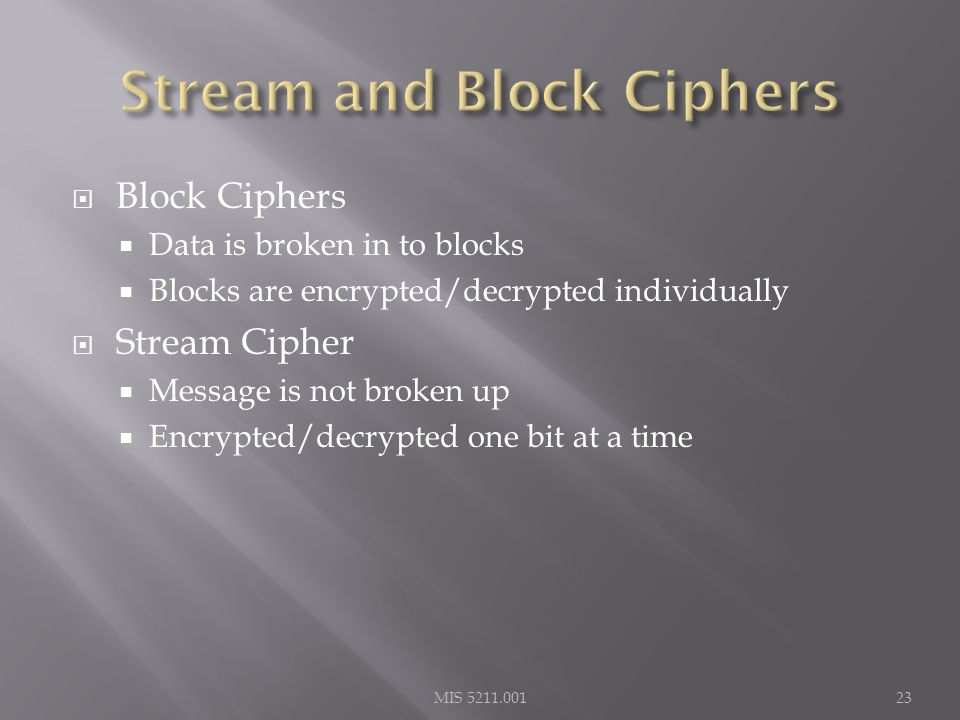  Block Ciphers  Data is broken in to blocks  Blocks are encrypted/decrypted individually  Stream Cipher  Message is not broken up  Encrypted/decrypted one bit at a time MIS 5211.00123