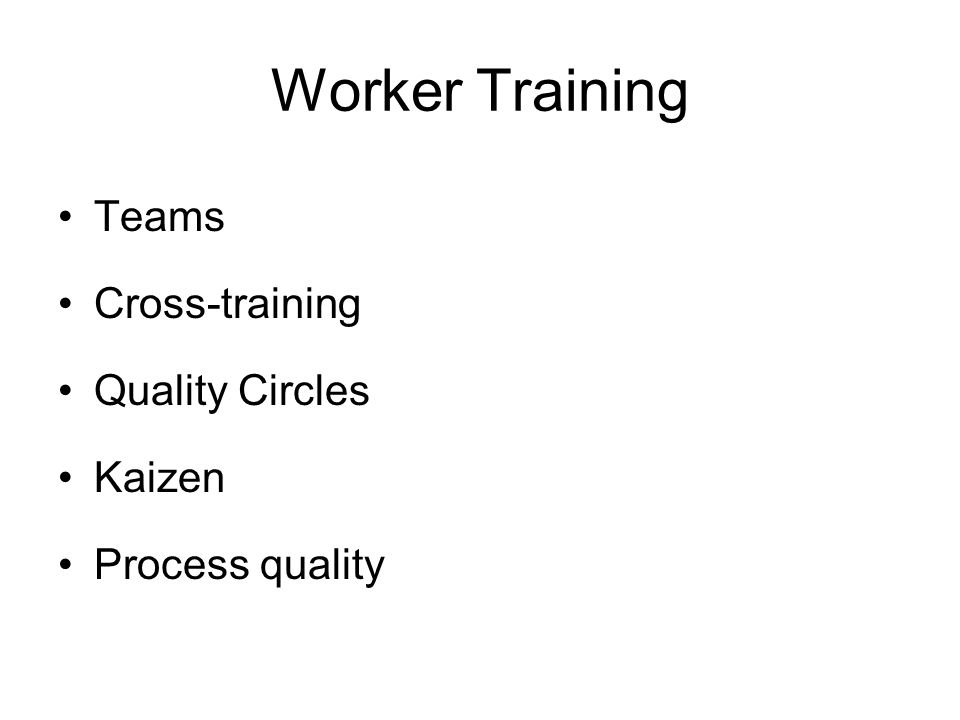Worker Training Teams Cross-training Quality Circles Kaizen Process quality