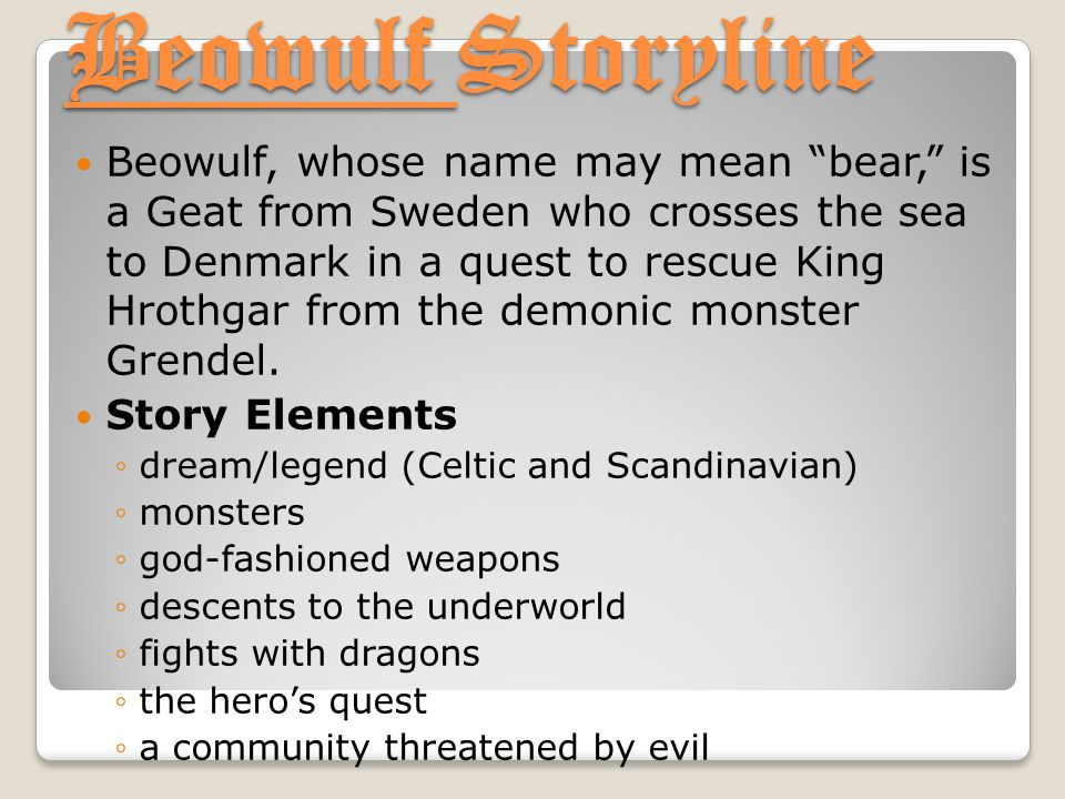 "Beowulf Storyline Beowulf, whose name may mean ""bear,"" is a Geat from Sweden who crosses the sea to Denmark in a quest to rescue King Hrothgar from th"