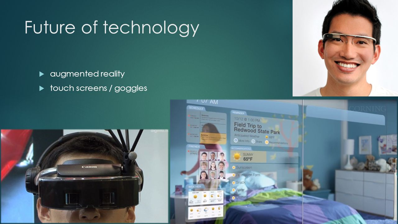 Future of technology  augmented reality  touch screens / goggles
