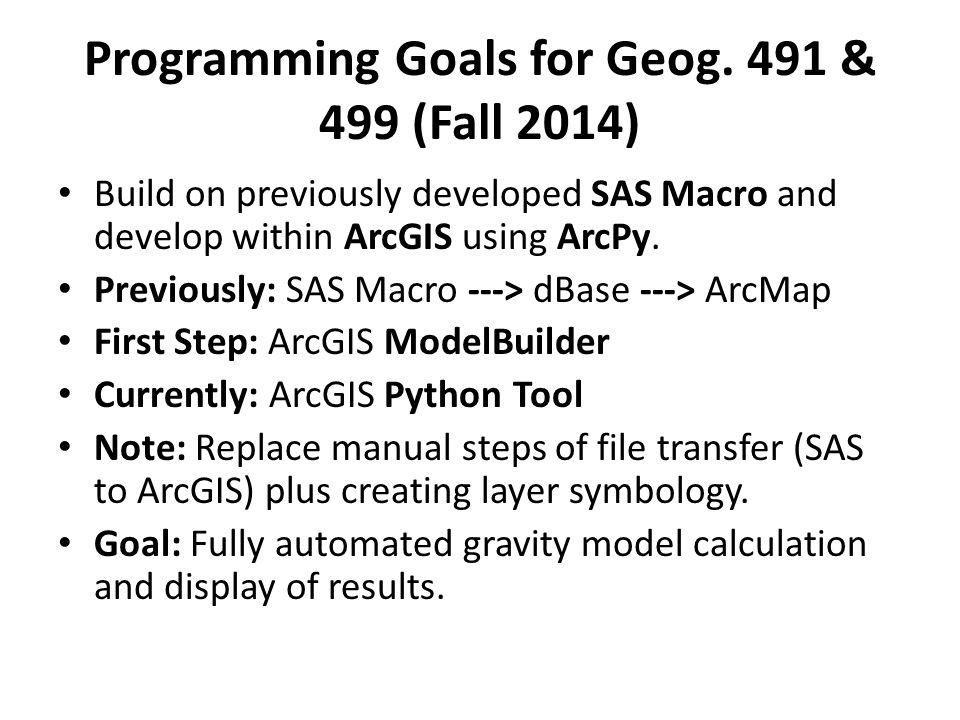 Programming Goals for Geog.
