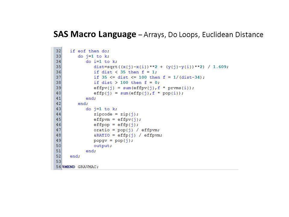 SAS Macro Language – Arrays, Do Loops, Euclidean Distance