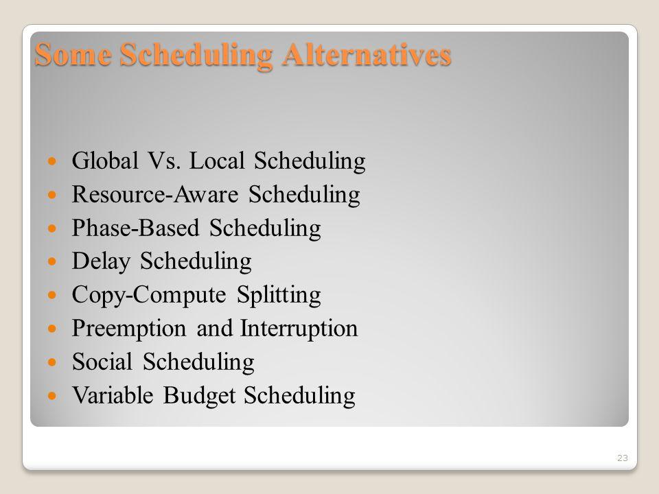 Some Scheduling Alternatives Global Vs.