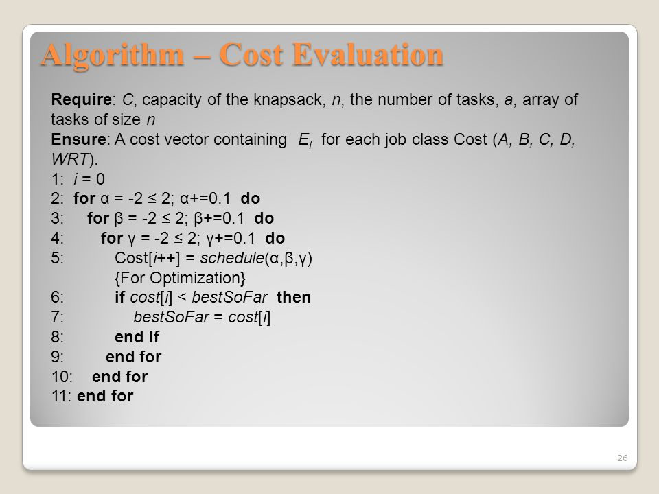 Algorithm – Cost Evaluation 26 Require: C, capacity of the knapsack, n, the number of tasks, a, array of tasks of size n Ensure: A cost vector containing E f for each job class Cost (A, B, C, D, WRT).