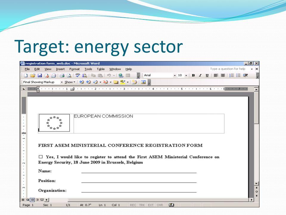 Target: energy sector