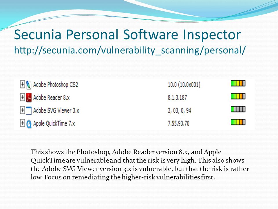 Secunia Personal Software Inspector http://secunia.com/vulnerability_scanning/personal/ This shows the Photoshop, Adobe Reader version 8.x, and Apple QuickTime are vulnerable and that the risk is very high.