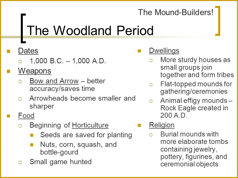 The Woodland Period Dates  1,000 B.C. – 1,000 A.D. Weapons  Bow and Arrow – better accuracy/saves time  Arrowheads become smaller and sharper Food