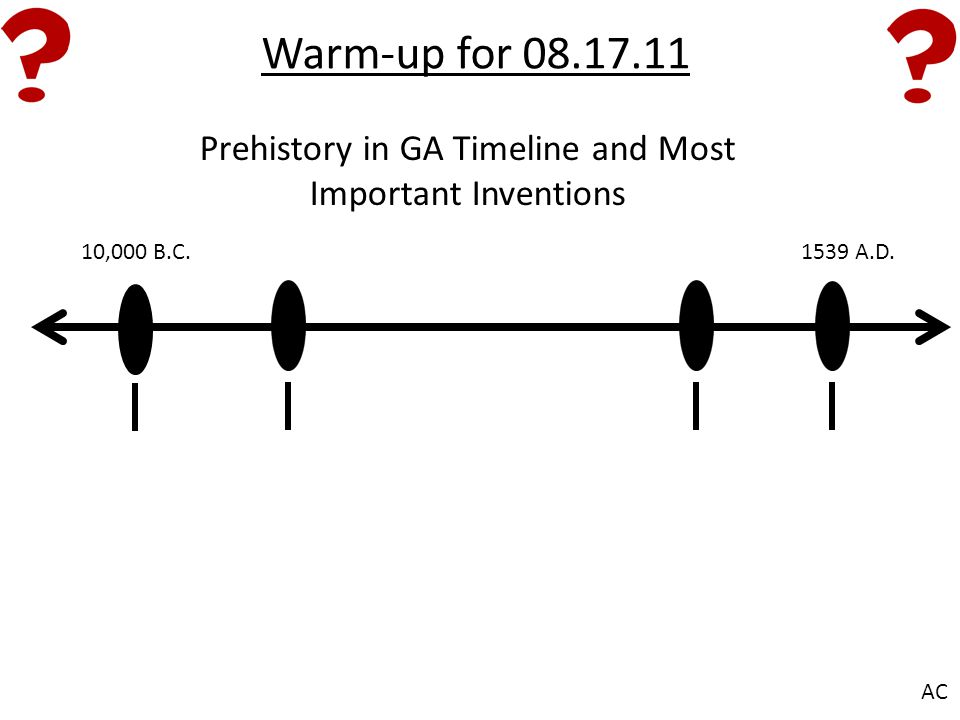 Warm-up for 08.17.11 10,000 B.C.1539 A.D. AC Prehistory in GA Timeline and Most Important Inventions