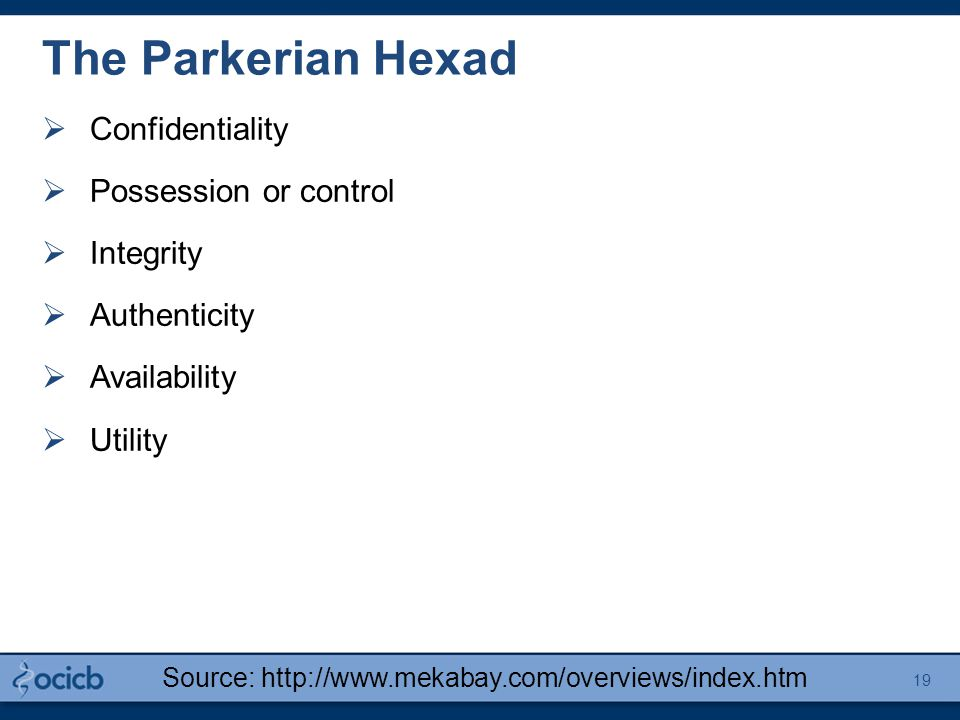 The Parkerian Hexad  Confidentiality  Possession or control  Integrity  Authenticity  Availability  Utility Source: http://www.mekabay.com/overv