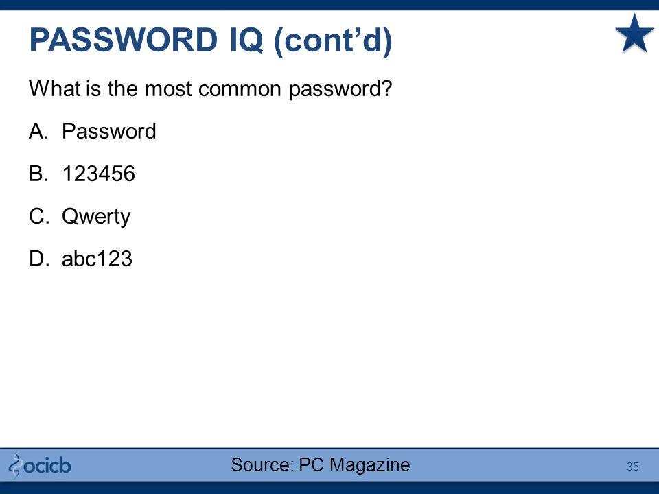 PASSWORD IQ (cont'd) What is the most common password? A.Password B.123456 C.Qwerty D.abc123 35 Source: PC Magazine
