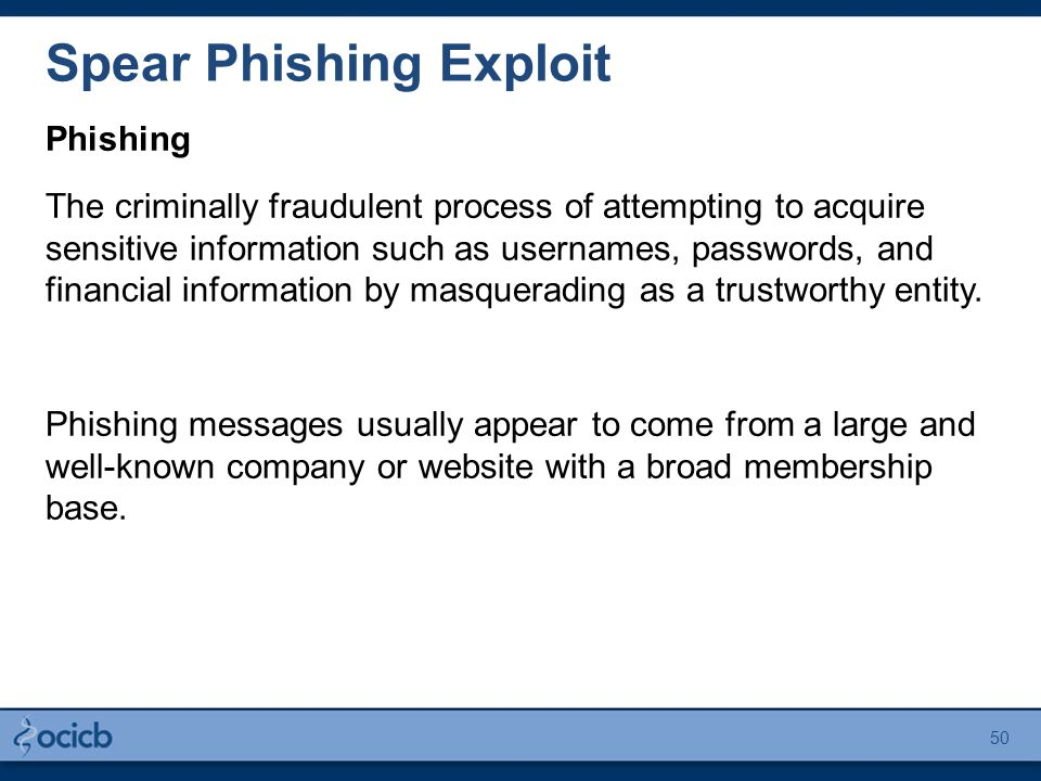 Spear Phishing Exploit Phishing The criminally fraudulent process of attempting to acquire sensitive information such as usernames, passwords, and financial information by masquerading as a trustworthy entity.