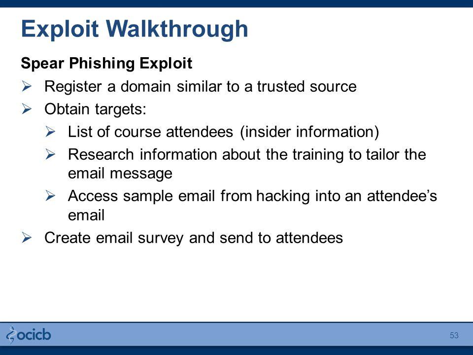 Exploit Walkthrough Spear Phishing Exploit  Register a domain similar to a trusted source  Obtain targets:  List of course attendees (insider infor