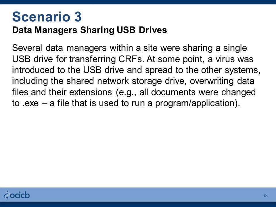 Scenario 3 Data Managers Sharing USB Drives Several data managers within a site were sharing a single USB drive for transferring CRFs.