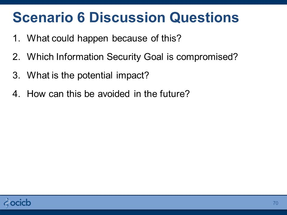 Scenario 6 Discussion Questions 1.What could happen because of this.