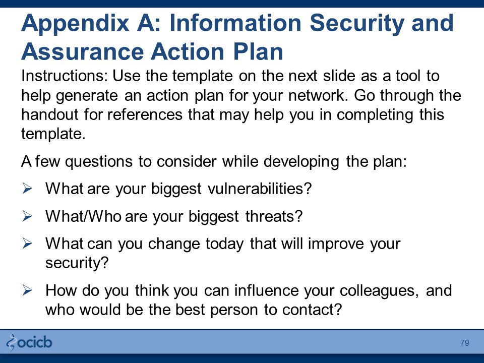 Appendix A: Information Security and Assurance Action Plan Instructions: Use the template on the next slide as a tool to help generate an action plan