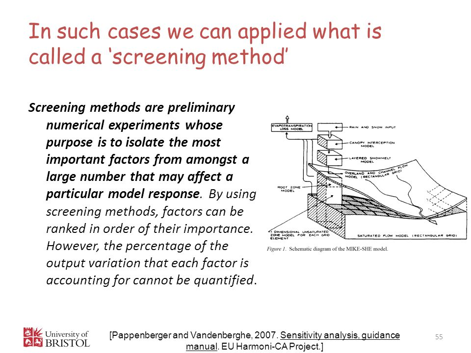 In such cases we can applied what is called a 'screening method' 55 [Pappenberger and Vandenberghe, 2007.