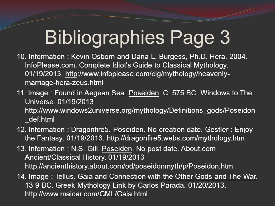 Bibliographies Page 3 10. Information : Kevin Osborn and Dana L.