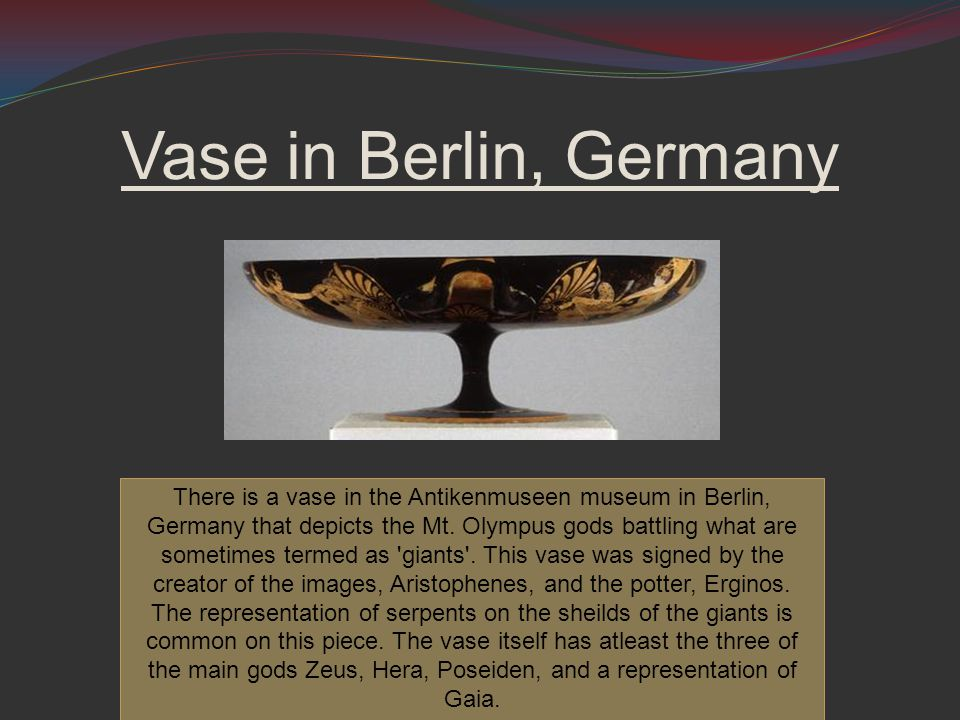 Vase in Berlin, Germany There is a vase in the Antikenmuseen museum in Berlin, Germany that depicts the Mt.