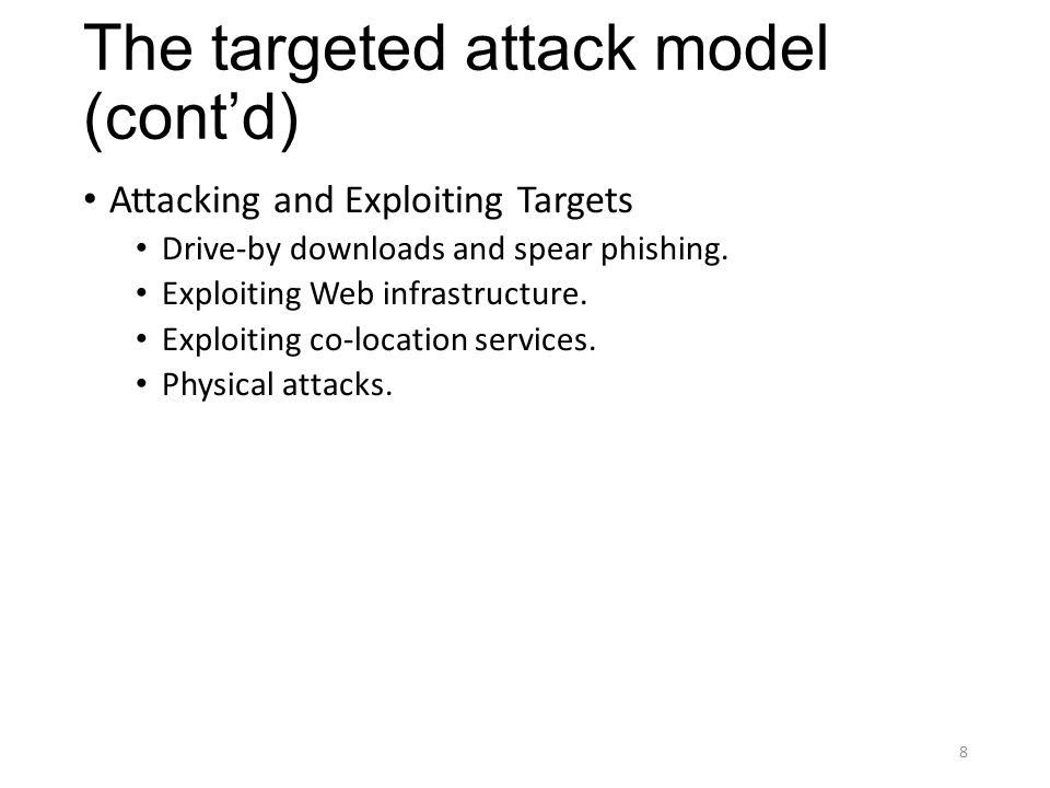 Elements of Targeted Attacks Malware Infection Frameworks Browser Exploit Packs and Glype Proxies RATs and Rootkits Morphing and Obfuscation Toolkits Interface with an Underground Market 9