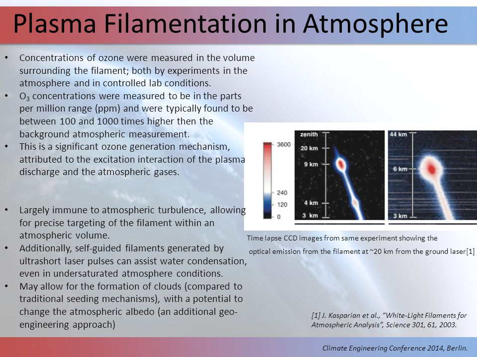 Plasma Filamentation in Atmosphere Concentrations of ozone were measured in the volume surrounding the filament; both by experiments in the atmosphere