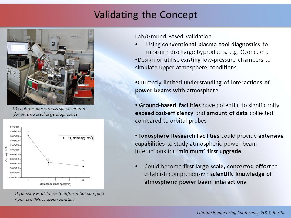 Validating the Concept Lab/Ground Based Validation Using conventional plasma tool diagnostics to measure discharge byproducts, e.g.