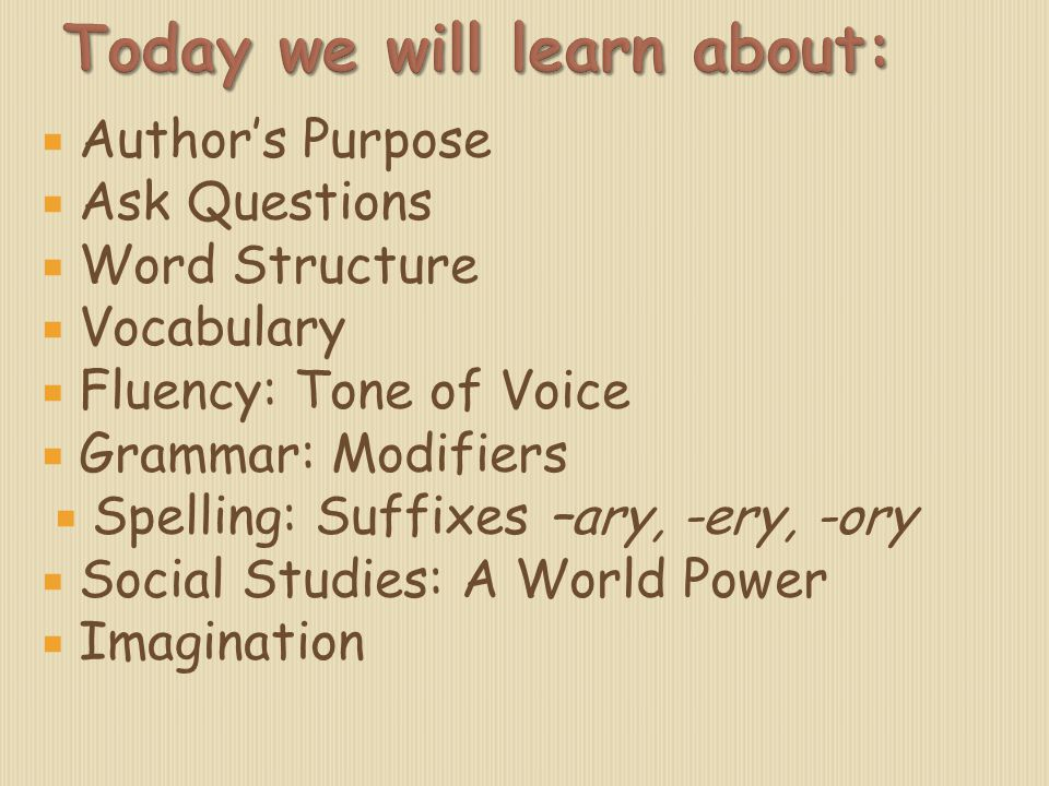  Author's Purpose  Ask Questions  Word Structure  Vocabulary  Fluency: Tone of Voice  Grammar: Modifiers  Spelling: Suffixes –ary, -ery, -ory 