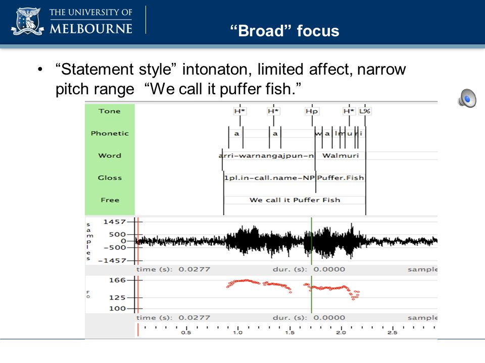 Focus in Mawng Experiment was conducted to elicit contrastive or corrective focus through a scripted interaction Interaction between word order: local and phrasal pitch range, pitch accent location & realization, and intonational phrasing.
