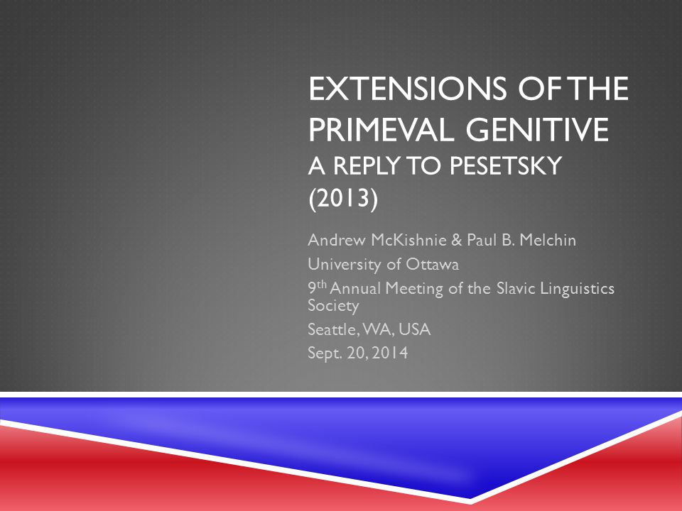 INTRODUCTION TO PESETSKY (2013)  Pesetsky (2013) proposes that number is assigned in two different ways in Russian: Synthetically (singular or plural), or Periphrastically ( DUAL, TRIAL or QUADRAL )  Synthetically: N enters the syntax already bearing a number feature, NUMBER (because the N GEN nominalizer that formed in the lexicon bears NUMBER )  Periphrastically: N enters the syntax not bearing NUMBER (because the nominalizer N GEN that formed the noun does not bear NUMBER ) and immediately merges with an instance of NUMBER  In this system, the paucal 'numerals' themselves are realizations of the DUAL, TRIAL and QUADRAL features, and the noun bears default singular morphology in their presence 12