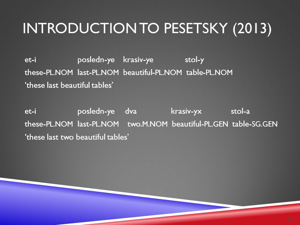 INTRODUCTION TO PESETSKY (2013) et-i posledn-ye krasiv-ye stol-y these- PL.NOM last- PL.NOM beautiful- PL.NOM table- PL.NOM 'these last beautiful tabl
