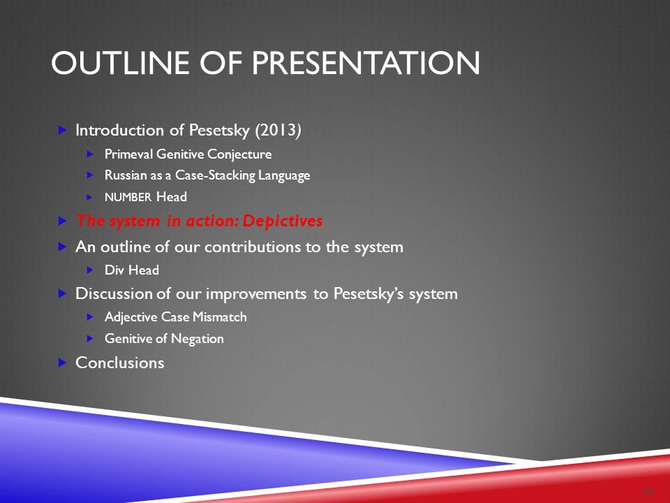 OUTLINE OF PRESENTATION  Introduction of Pesetsky (2013)  Primeval Genitive Conjecture  Russian as a Case-Stacking Language  NUMBER Head  The sys