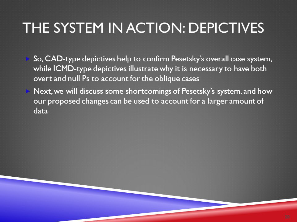 THE SYSTEM IN ACTION: DEPICTIVES  So, CAD-type depictives help to confirm Pesetsky's overall case system, while ICMD-type depictives illustrate why i