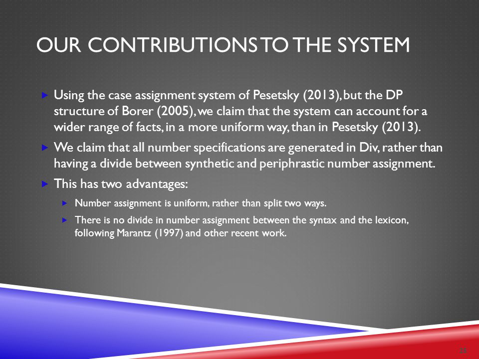 OUR CONTRIBUTIONS TO THE SYSTEM  Using the case assignment system of Pesetsky (2013), but the DP structure of Borer (2005), we claim that the system