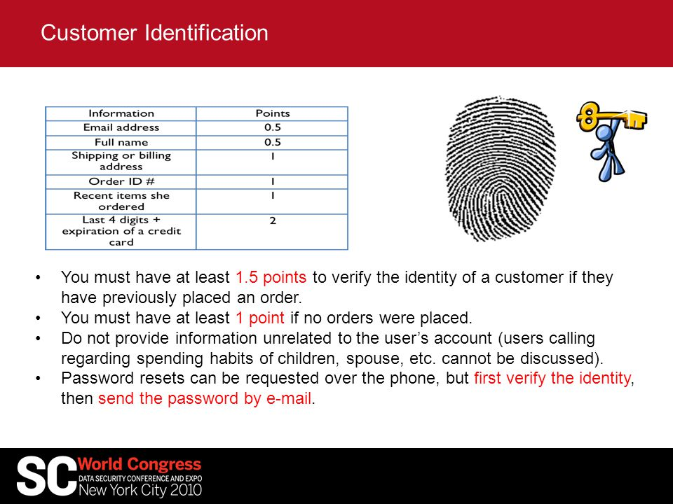 You must have at least 1.5 points to verify the identity of a customer if they have previously placed an order.