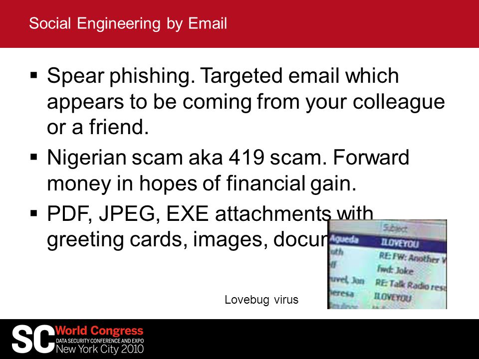 Spear phishing. Targeted email which appears to be coming from your colleague or a friend.