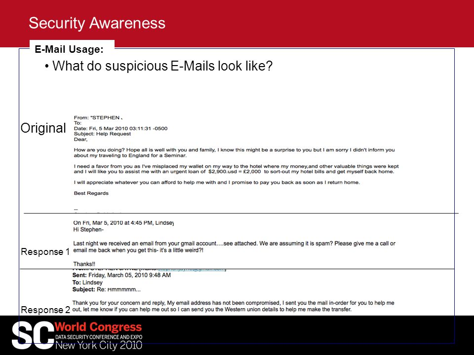 Security Awareness E-Mail Usage: What do suspicious E-Mails look like.