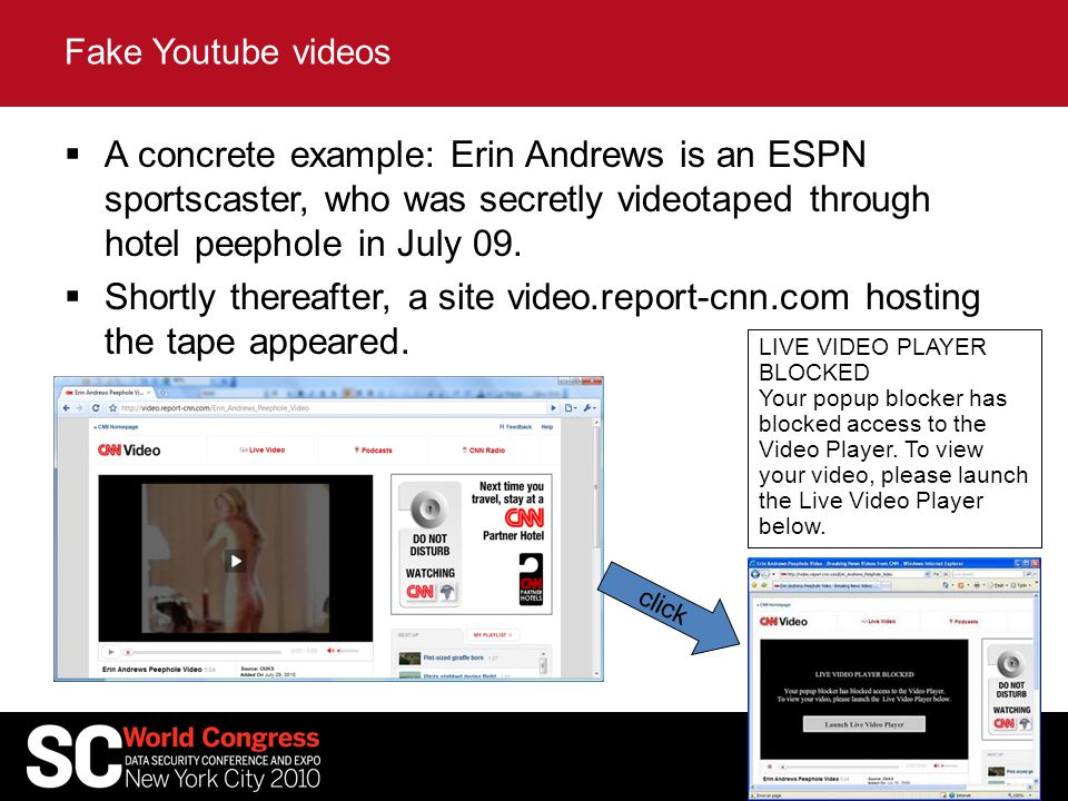 A concrete example: Erin Andrews is an ESPN sportscaster, who was secretly videotaped through hotel peephole in July 09.