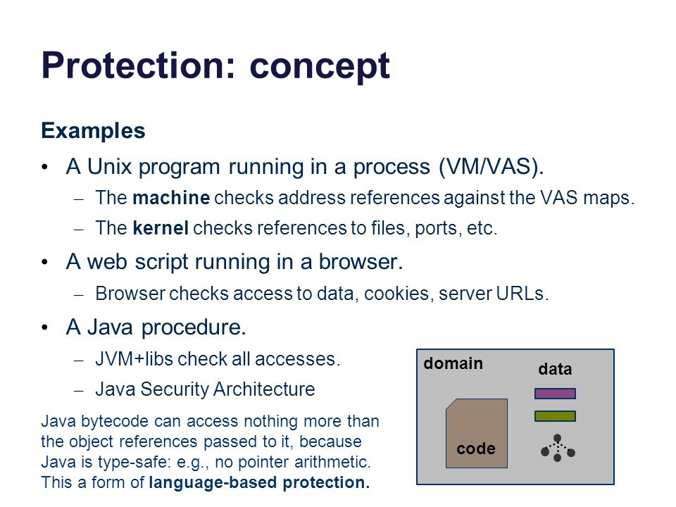Protection: concept Examples A Unix program running in a process (VM/VAS).