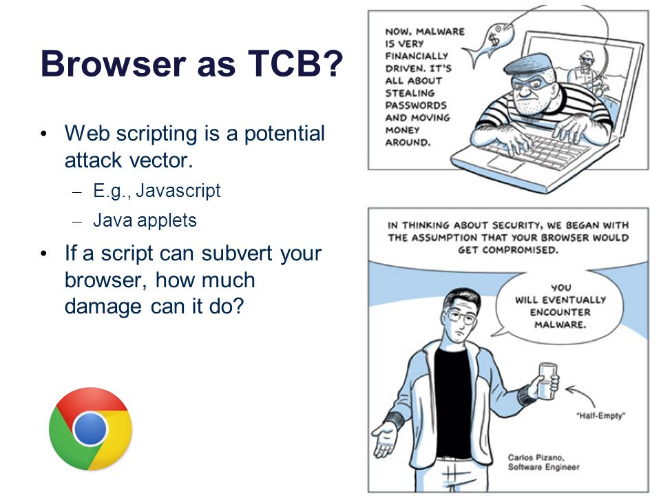 Browser as TCB. Web scripting is a potential attack vector.