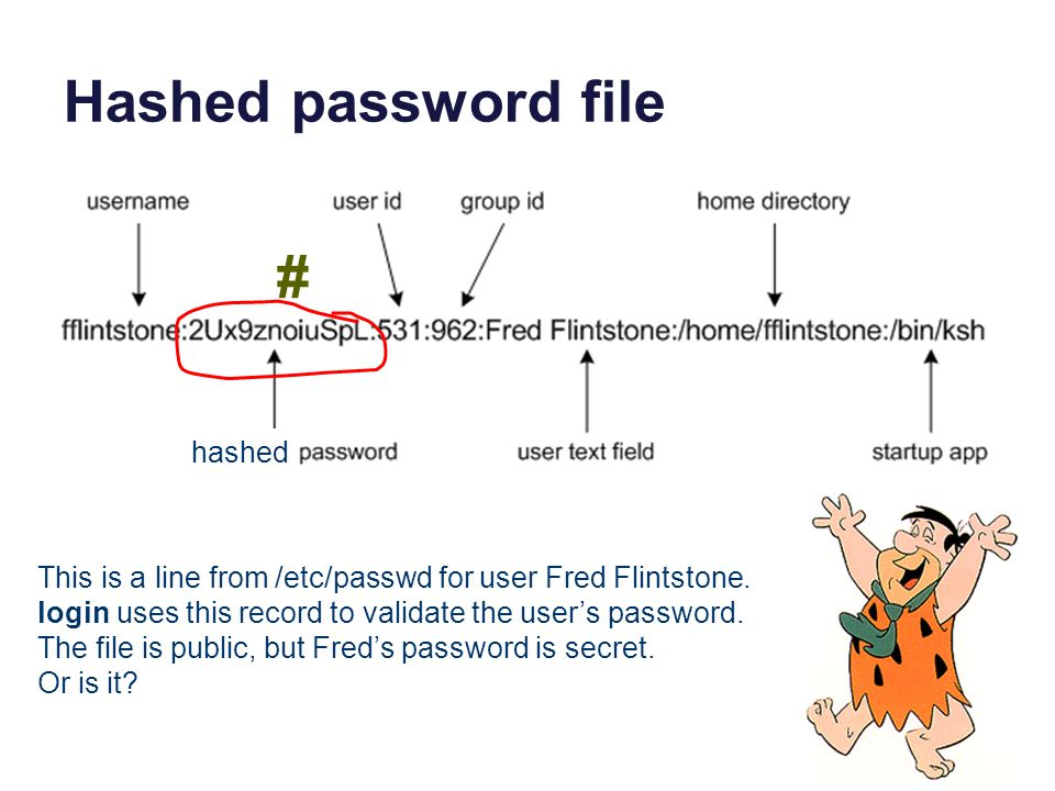 Hashed password file This is a line from /etc/passwd for user Fred Flintstone.
