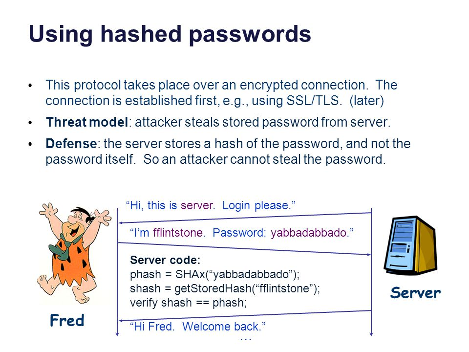 Using hashed passwords This protocol takes place over an encrypted connection.